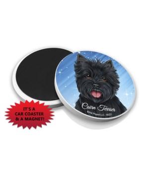 Cairn Terrier (black) car coaster /Magne