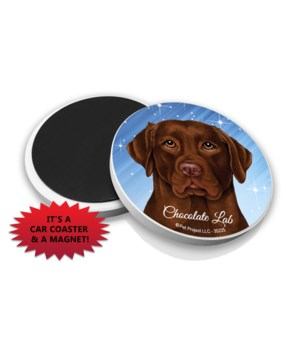 Chocolate Lab car coaster /Magnet