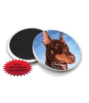 Doberman (Brown) car coaster /Magnet