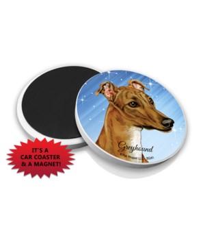 Greyhound (Brown color) car coaster /Mag