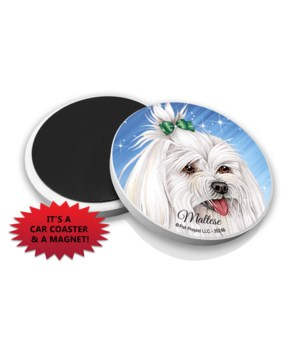 Maltese (with bow in hair) car coaster /