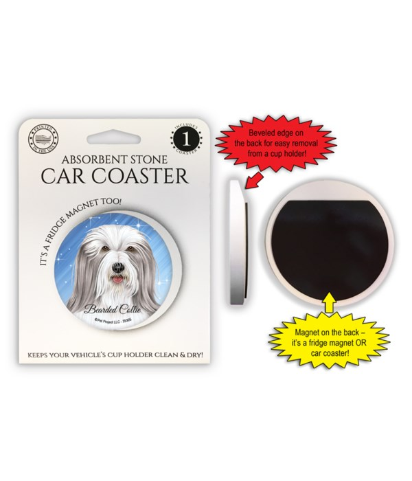 Bearded Collie Magnet coaster