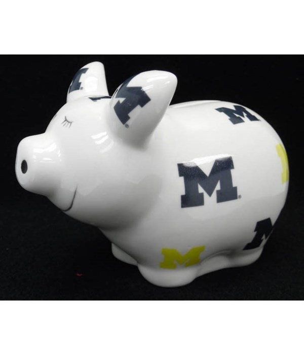UofM Piggy Bank Logo All Over