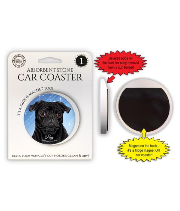 Pug (black) Magnet coaster