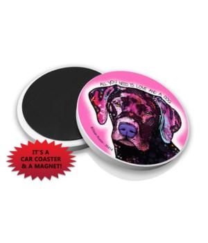 Labrador (Pink BG) DR Car Magnet Bulk