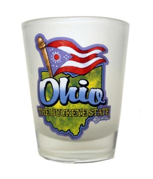 Ohio Shotglass Frosted Banner-Map/Flag