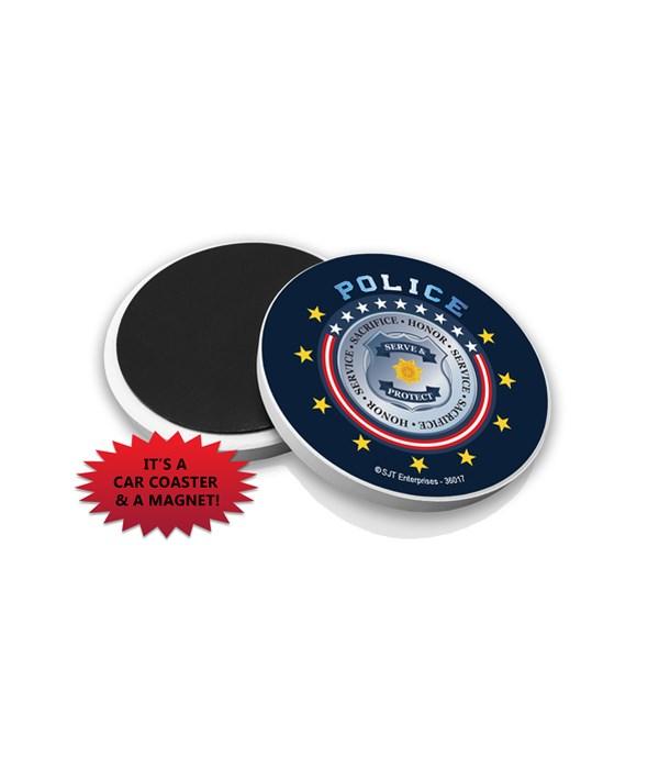 Police Car Coaster Magnet Bulk