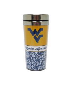 WV-U Travel Mug Spiral Design