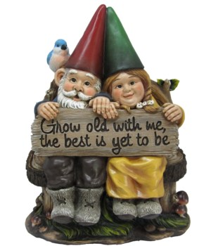 Gnome couple w/ sign 11.5""