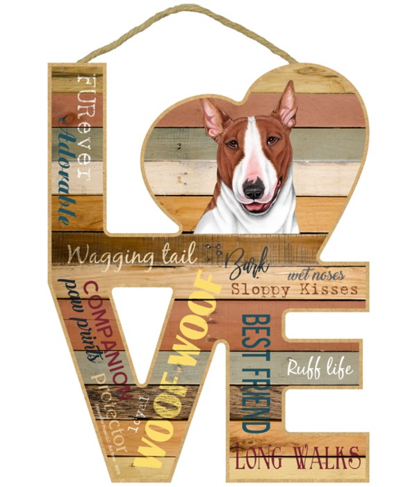 Love sign / Bull Terrier (Brown and whit