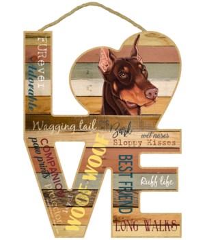 Love sign / Doberman (Brown)