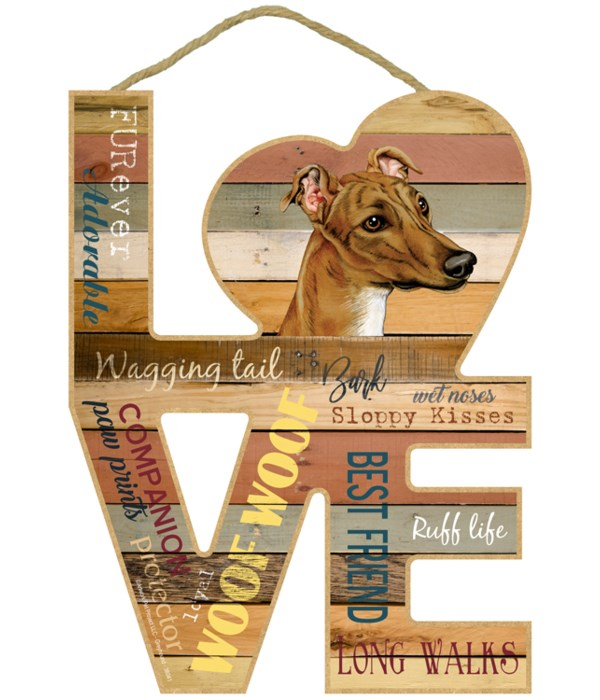 Love sign / Greyhound (Brown color)