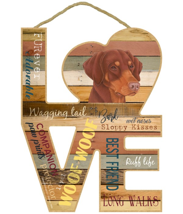 Love sign / Doberman (red-brown, dropped