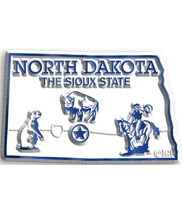 North Dakota Map Magnet