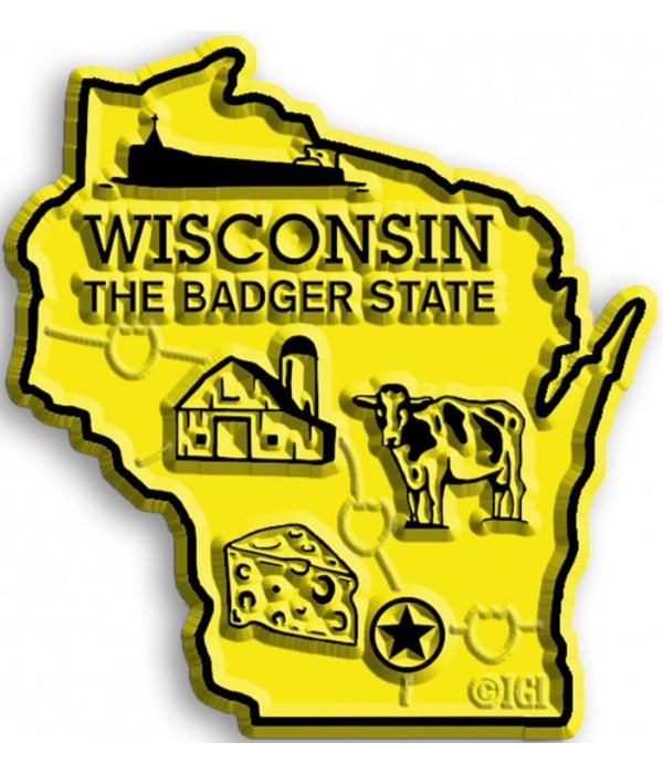 Wisconsin Map Magnet