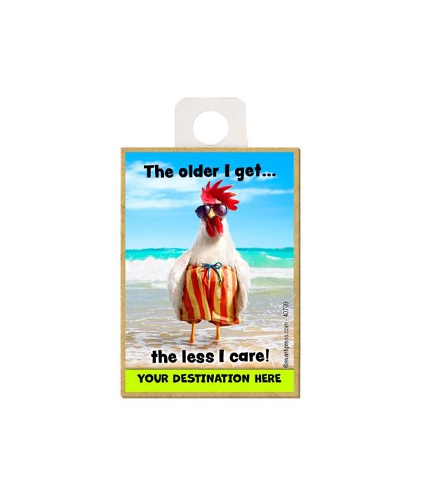 Rooster Swim Trunks - The older I get…the less I care Magnet