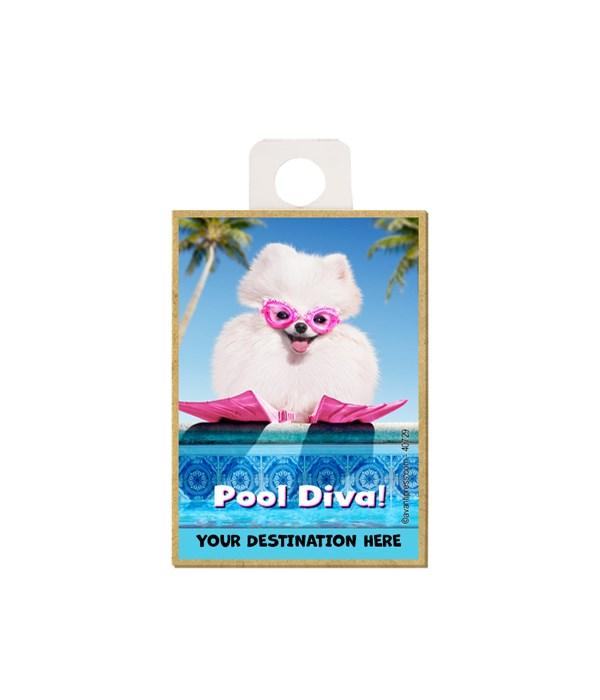 "Small white Pomeranian w/swim goggles on - ""Pool Diva"" Magnet"