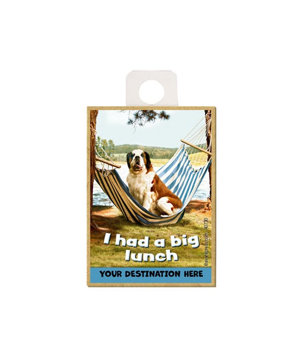 """St. Bernard sitting to the ground on a hammock - """"I had a big lunch"""" Magnet"""