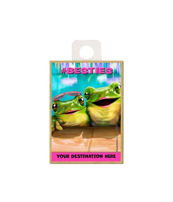 """Two frogs in pool - """"#BESTIES"""" Magnet"""