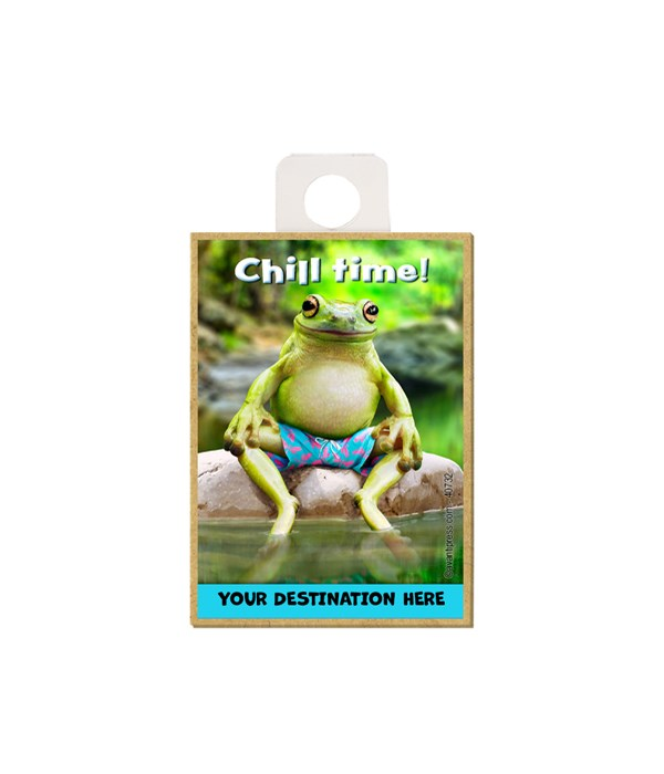 """Frog wearing swim shorts w/legs in water - """"Chill Time!"""" Magnet"""