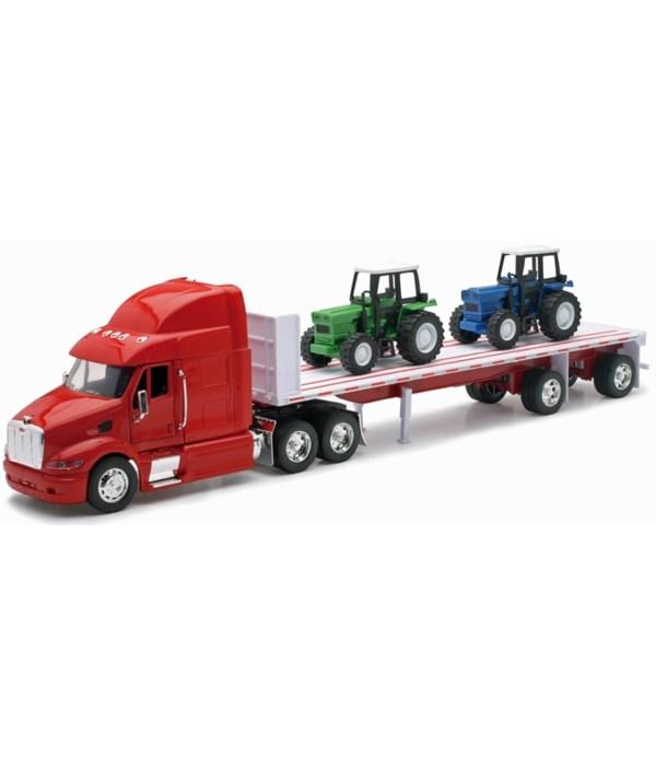 PB 387 W/ Flatbed & 2 farm tractors