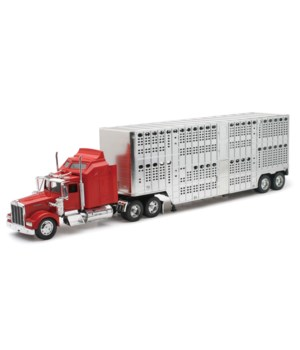 KW W900 Livestock Chrome Trailer 1:32 WB