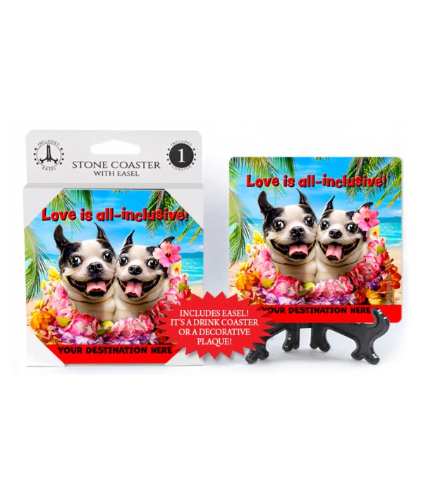 Dog Duo Shares Leis - Love is all-inclusive 1PK Coaster