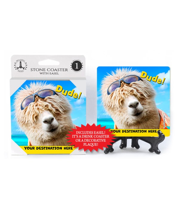 Surfer Alpaca - Dude! 1PK Coaster