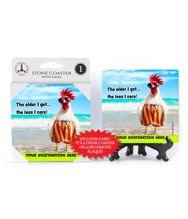 Rooster Swim Trunks - The older I get…the less I care 1PK Coaster