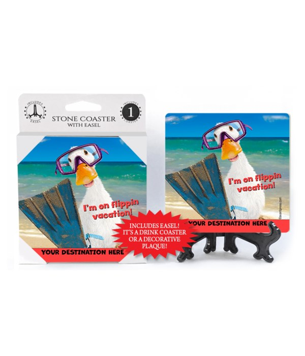 Duck in Flippers - I'm on flippin vacation! 1PK Coaster