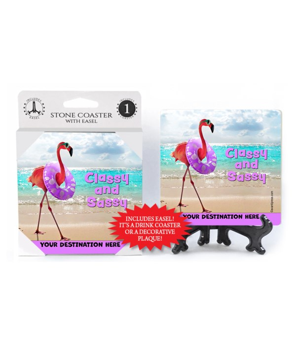 Flamingo on Beach - Classy and Sassy 1PK Coaster