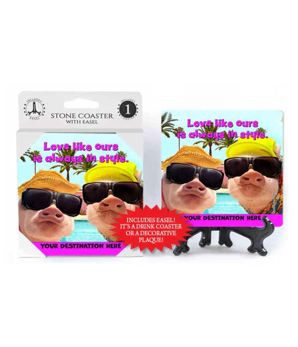 Summer Time Pigs - Love like ours is always in style. 1PK Coaster