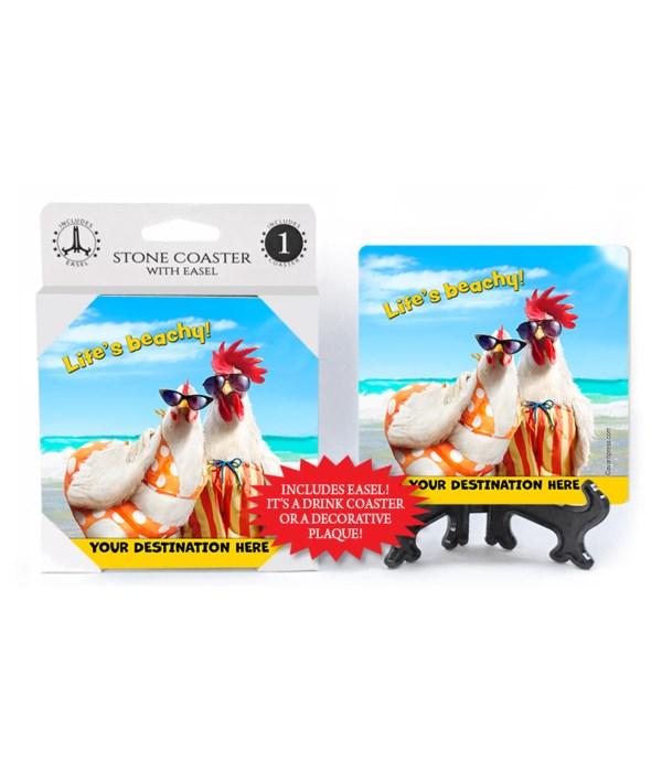 Chicken Couple on Beach - Life's Beachy! 1PK Coaster