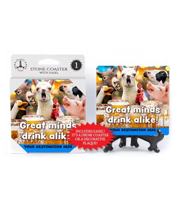 Barnyard Animals at bar - Great minds drink alike! 1PK Coaster