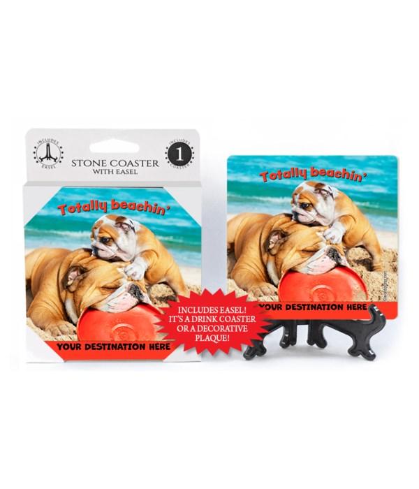 Bulldog and Son in Sand - Totally beachin' 1PK Coaster