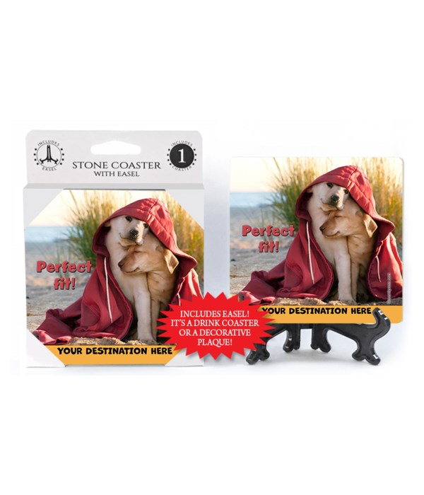 Dogs in Hoodie on Beach - Perfect fit! 1PK Coaster