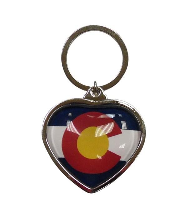 CO Keychain Metal Heart Bubble Flag