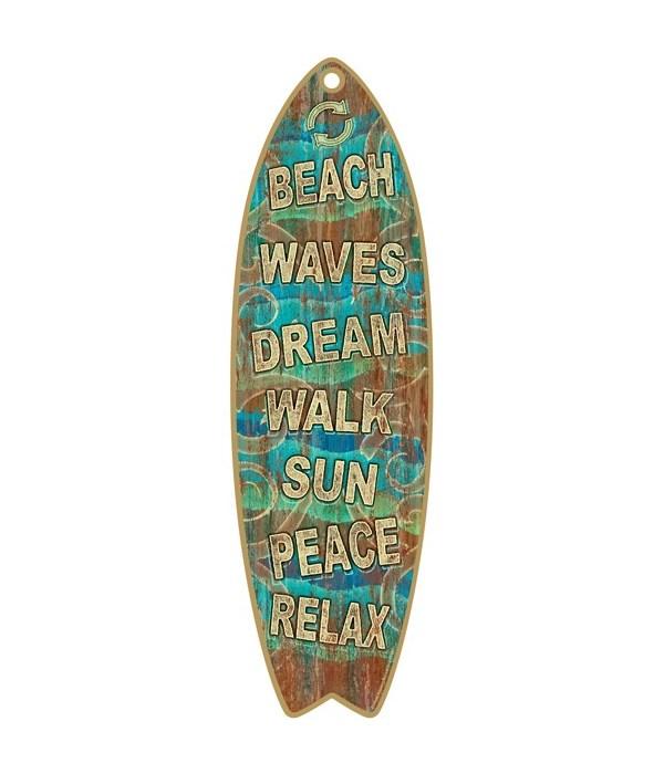 Beach Signs Surfboard