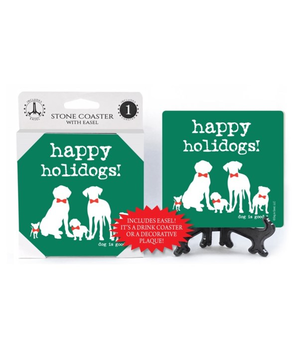 happy holidays! (green bkgd. 5 dogs with