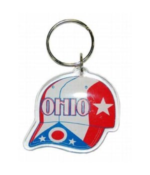 Ohio Keychain Lucite Cap RWB