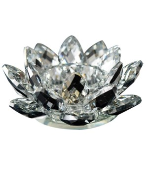 "4.5""  Crystal Lotus Black mirr Tea light"