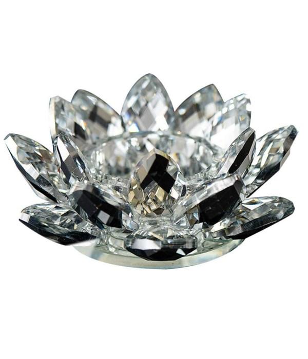 """4.5""""  Crystal Lotus Black mirr Tea light"""