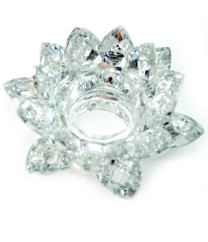 "4.5"" Crystal Lotus Silver tea light"