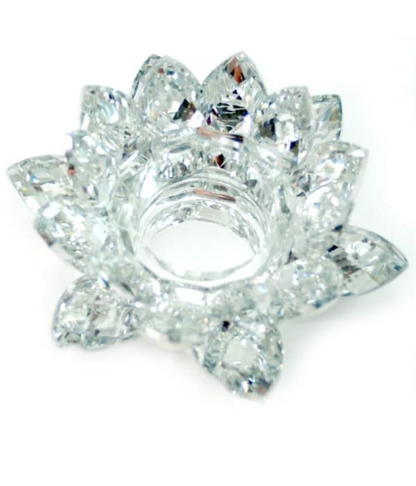 """4.5"""" Crystal Lotus Silver tea light"""