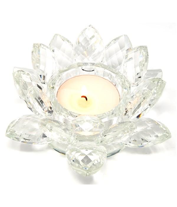 """4.5"""" Crystal Lotus Clear Tea light"""