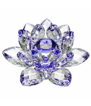 30MM Crystal Lotus-Blue accent-3.5""