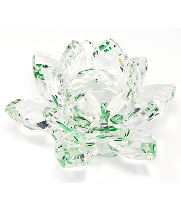 """30MM Crystal Lotus- Green accent-3.5"""""""