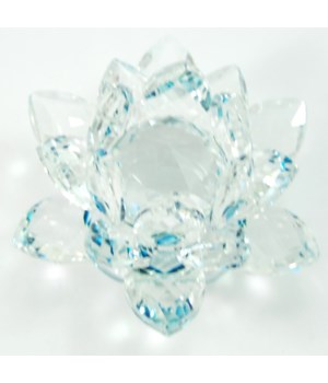 30MM Crystal Lotus-Aqua accent-3.5""