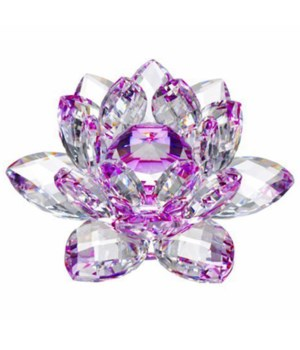 50MM Crystal Lotus-Purple accent-5.5""