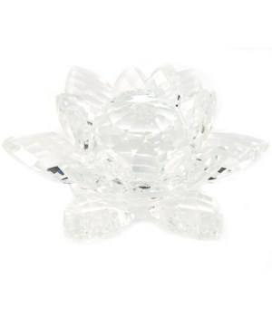 50MM Crystal Lotus- clear center-5.5""